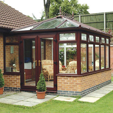 Edwardian conservatory with timber effect frames