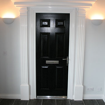 Black entrance door at the Bicester showroom