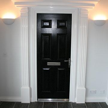 Black entrance door at the Bicester showroom