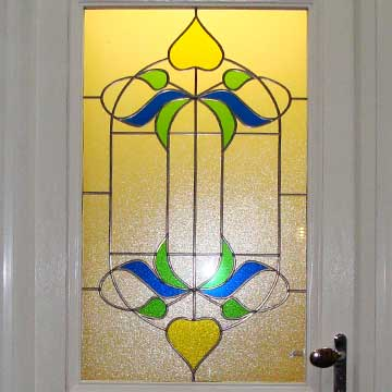 Front door with stained glass panel