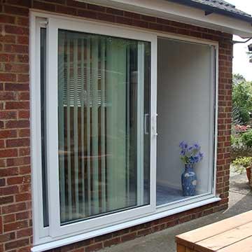 White patio door installation