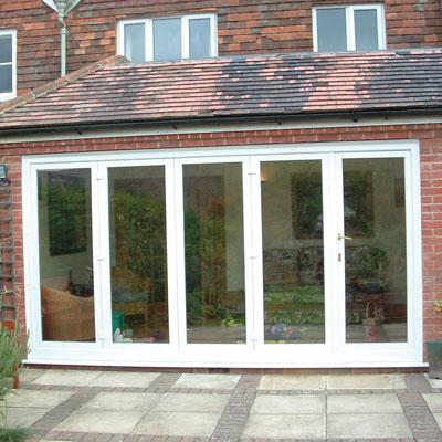 White uPVC bifold door set- patio door style