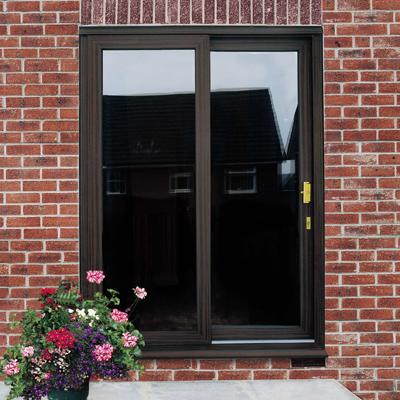 Dark brown sliding patio doors