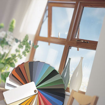 Coloured uPVC window with colour swatch