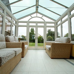 Gable end conservatory with glass roof