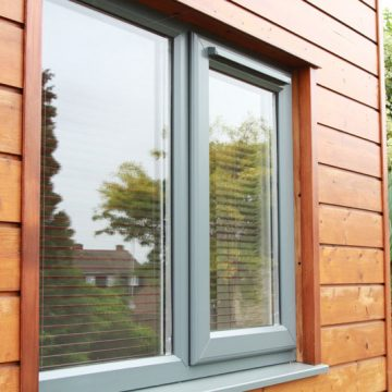 Grey uPVC window frames - new double glazing