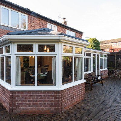 Tiled roof conservatory replacement on P-shape conservatory
