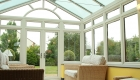 Modern glass reverse lean-to conservatory