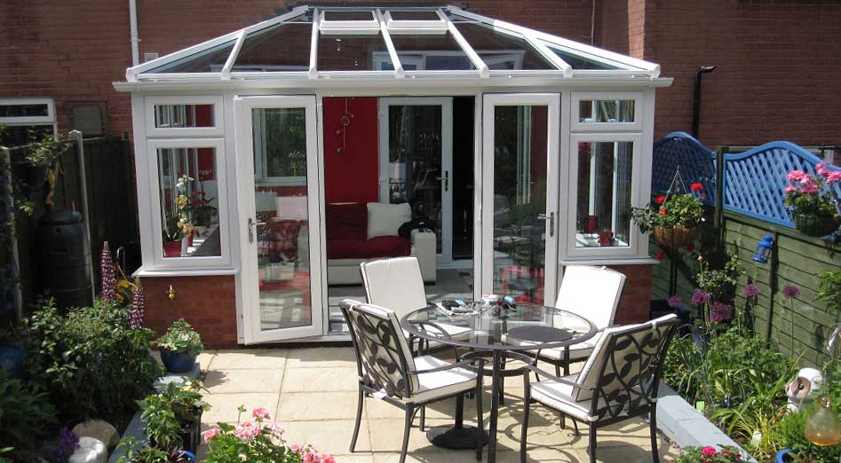 Winning white uPVC conservatory in Win-Dor photo competition