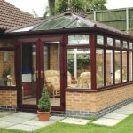 Rosewood effect uPVC conservatory