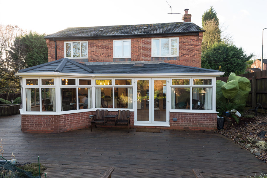 Solid tiled conservatory roof replacement installation