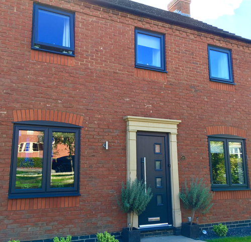 Anthracite windows in Old Stratford home - double glazing