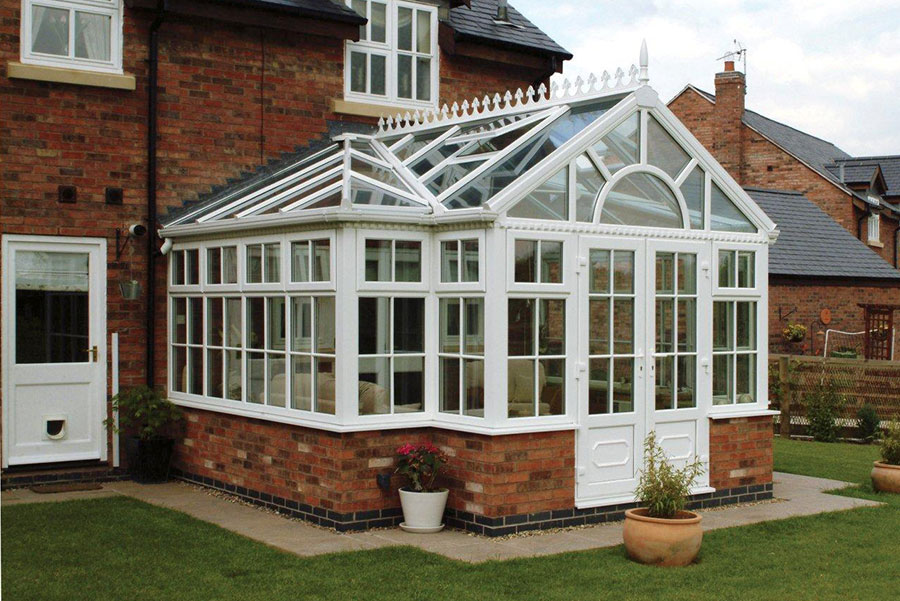 White uPVC T-Shaped Conservatory orangeries vs conservatories
