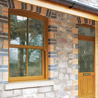 uPVC Sash Windows in Golden Oak