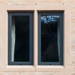 Black slimline aluminium casement window