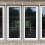 Cream slimline aluminium casement window