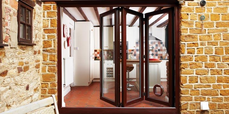 bifold doors wood finish
