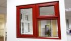 Dark red coloured windows