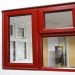 Dark red coloured windows