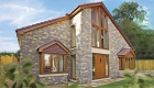 Antique oak coloured windows stone house installation.
