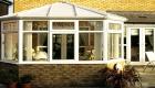 White uPVC edwardian conservatory house installation