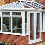 White PVCu edwardian conservatory house installation