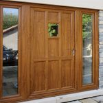 Golden oak entrance door