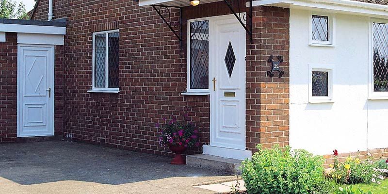 uPVC white entrance door semi detached installation