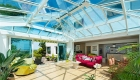 White uPVC Orangery interior on a sunny day