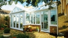 P Shaped white uPVC installation Conservatory