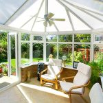 Inside a white uPVC Victorian Conservatory