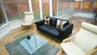 P-shaped conservatory interior laminate