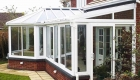 P-shaped conservatory white upvc
