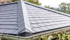 Solid roof conservatory gray tiles