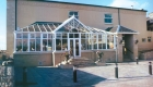 T-shaped conservatory white upvc